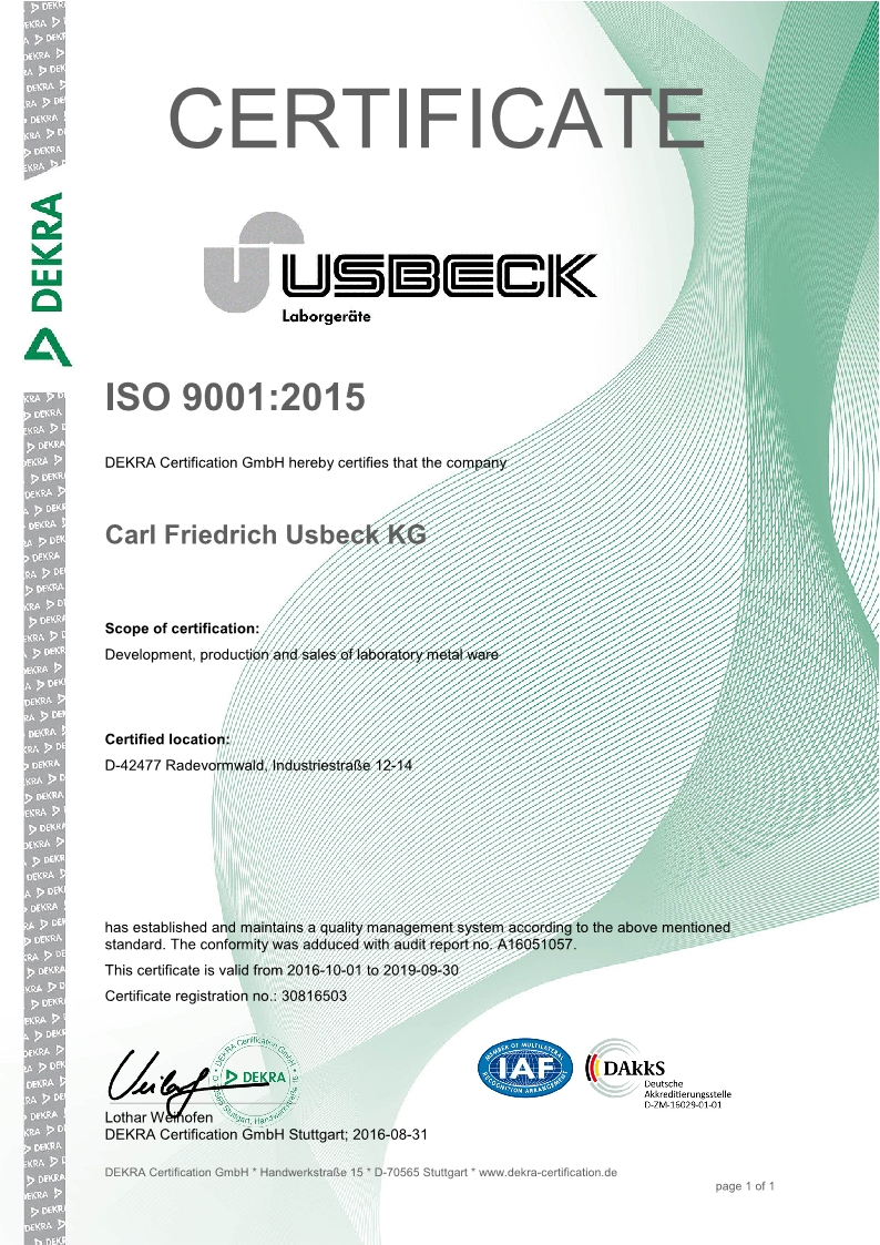 Carl friedrich usbeck kg germany laboratory apparatus please click on the picture to see our certificate 1betcityfo Gallery